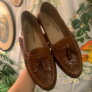 Vintage tan leather huarache woven leather loafers